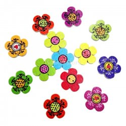 Colorful Flower 20mm Wooden Button, DIY,Craft,Scrapbook,Fashion Sewing